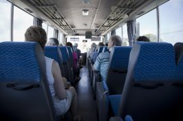 Tourists on a coach trip