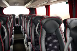 luxury coach bus interior with leather seats