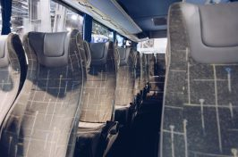 Seats in modern coach bus.
