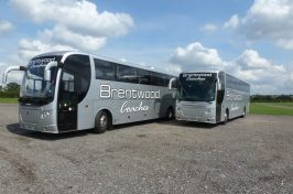Front Shot Of 2 Coaches In Brentwood
